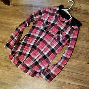 Tops - Pink and black flannel